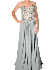 TERANI COUTURE $359 Embellished Strapless SILVER FORMAL GOWN PAGEANT DRESS SZ 8