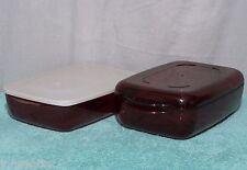 2 Tupperware 2303 Cook-it 7x10 MICROWAVE CASSEROLE DISH Cookware & LIDS ACRYLIC