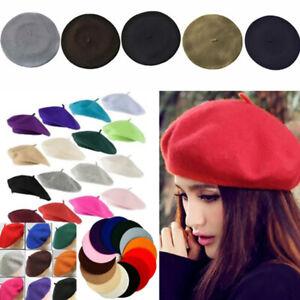Women Beret French Artist Warm Wool Winter Beanie Hat Retro Vintage Plain Beret