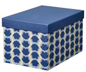 Ikea TJENA Storage box with lid, blue purple yellow patterned 7 x 9 ¾ x 6 • NEW!