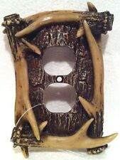 NEW-Poly Resin Whitetail Deer Antler Outlet Plate Cover -LOG CABIN Decor