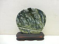 Estate Antique Chinese Spinach Jade Green Vein Scholars Rock Stone & Stand