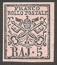 1852 Pontificio 5b. rosa chiaro N° 6 ** integro