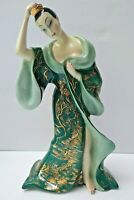 Giovanni Ronzan Italian Porcelain Signed Statue Figurine of Asian Lady 1940's
