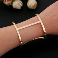 Fashion Charm Women Gold Punk Bangle Cuff Wide Hollow Bracelet Wristband Jewelry