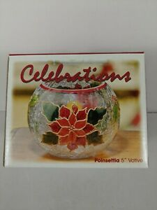 """Celebrations Poinsettia Votive Candle Holder  Size 5"""" Mouth blown Hand painted"""