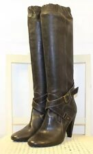 FORNARINA Brown Leather Knee High Heels Equestrian Riding Boots US 7.5M EU 38