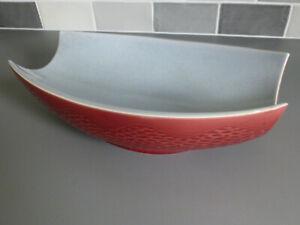 Royal Norfolk Studio Pottery 1950s Fruit Bowl - Alan Compton - Red & Pale Blue