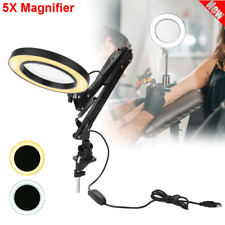 Clamp Mount LED 5X Magnifying Lamp Manicure Tattoo Magnifier Warm Cold Light USB