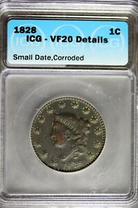 1828 - ICG VF20 DETAILS SMALL DATE, CORRODED LARGE CENT! #B24205