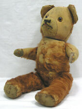 Vintage Teddy Bear An OLD One Raggedy Fur Glass Eyes Head Turns