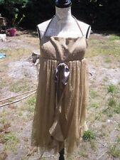 Robe cérémonie champagne dorée marron tulle soirée dos nu femme NOZZE taille 42