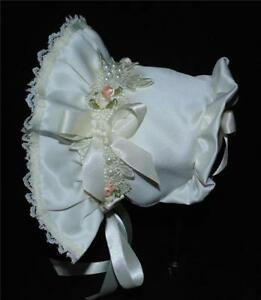 Ivory Satin with Roses and Pearls Trim Baby Bonnet