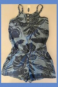 NWT Girls 8 OLD NAVY Cotton Chambray 1-piece ROMPER 1-Piece Tropical Palm Leaves