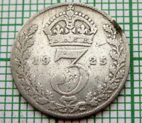 GREAT BRITAIN GEORGE V 1925 THREEPENCE 3 PENCE, SILVER