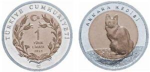 TURKEY 2015 ANKARA / ANGORA CAT 1 LIRA COMMEMORATIVE BIMETAL UNC COIN
