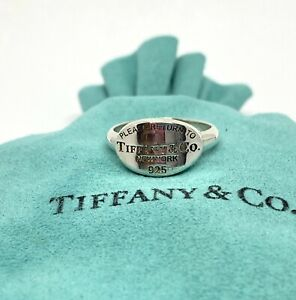 Please Return To Tiffany & Co Sterling Silver Oval Signet Band Ring & Pouch Rare