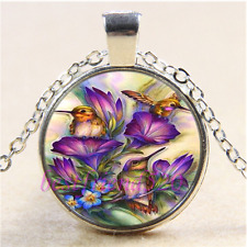 Hummingbird & Flower  Cabochon Glass Tibet Silver Chain Pendant Necklace