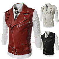 Men's Leather Biker Vest Sleeveless Motorcycle Slim Jacket Casual Coat Stand New