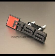 Black RS6 Grill Badge A6 S6 RS S Front Grille Emblem Decal Sticker Logo Sign