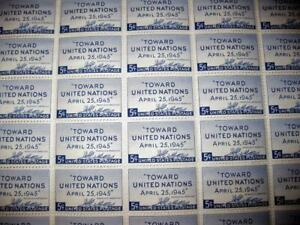Scott # 928 ~ 1945 5¢ United Nations Conference Issue - FULL SHEET 50 STAMPS M1