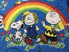 The Peanuts Gang Rainbow Sheet Bedspread Fabric Tablecloth Snoopy Charlie Brown