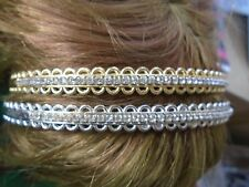 Pack 2 silver & gold hair alice bands plastic diamante headband 1cm hairband