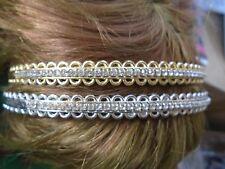 Pack 2 De Plata Y Oro Bandas Para El Cabello Alice Plástico Diamante Diadema 1 cm Hairband