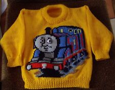 THOMAS TRAIN ENGINE  NEW HAND KNITTED SIZE 2-3  100% ACRYLIC EASY CARE