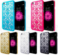 Hard Back Damask Case Cover for Apple iPhone 5s 5c 6 with FREE Screen Protector