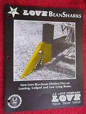 1980 LOVE COMBINE HEADER BeanSharks BROCHURE