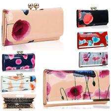 Women's Poppy Flower Patent Butterfly Print Purses Coin Bag Phone Holder Card