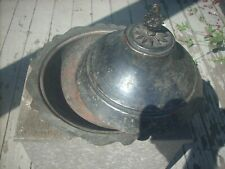 Antique Hand Made Tinned Copper Scalloped Edge Mid East Chafing Dish w/ Lid