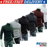 Men's Thermal High Collar Turtle Neck Long Sleeve T-Shirt Top Turtleneck Blouse