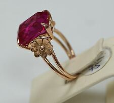 RUSSIAN RETRO BIG 14K ROSE GOLD RING SET WITH SYNTHETIC RUBY, SIGNED, SIZE 6,5
