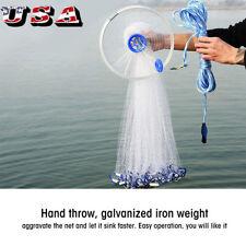 8FT /2.4M Fishing Cast Net Bait Easy Throw Hand Strong Nylon Mesh + Sinker US