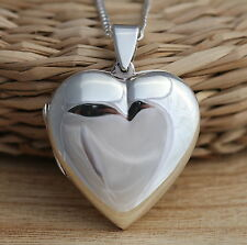 Solid 925 Sterling Silver Heart Locket Pendant Large Heavy Necklace JewelleryBox