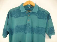 Le Coq Sportif Mens Short Sleeve Teal Tribal Pattern Polo Shirt M Rooster