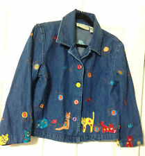Carrie Allen Denim Jean Cute Cat Kitten Shirt Jacket Size Medium M