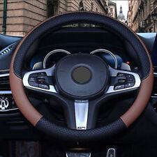 PU Leather Car Steering Wheel Cover Anti-slip Protector Fit 38cm Black&Coffee
