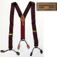 Trafalgar Suspenders Button Braces Burgundy with Leather Tabs