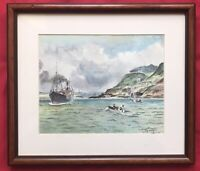 Original Art Watercolour Painting Marine Seascape Ship Boats On Sea By J Gray