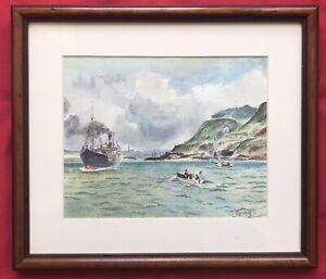 Original Art Watercolour Painting Marine Seascape Ship Boats On Sea By J Gray