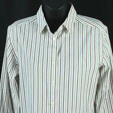 Pendleton Womens Dress Shirt Size S L/S Top Blouse White Red Gray Stripes Small