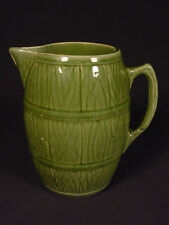 RARE BRUSH McCOY GREEN BARREL PITCHER YELLOW WARE MINT