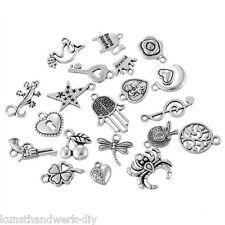 KUS 1Set Mix Antiksilber Charms Anhänger Libelle Stern Herz Kleeblatt 10.5x5.9cm