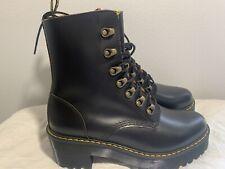 Dr. Martens Leona 7-Eye Hiker Boot Black Vintage Smooth Leather Sz US 8 /EU 39