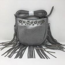 HOBO Whisper Leather Crossbody Bag Handbag Purse Sterling / Silver FRINGE