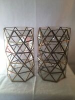 "Pair Of 10"" Tall 6"" Across Gold Tone Geometric Brass And Glass Candle Holders"