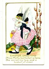 Dressed Girl Bunny Rabbit-Molly-Easter Holiday Greeting Vintage Whitney Postcard